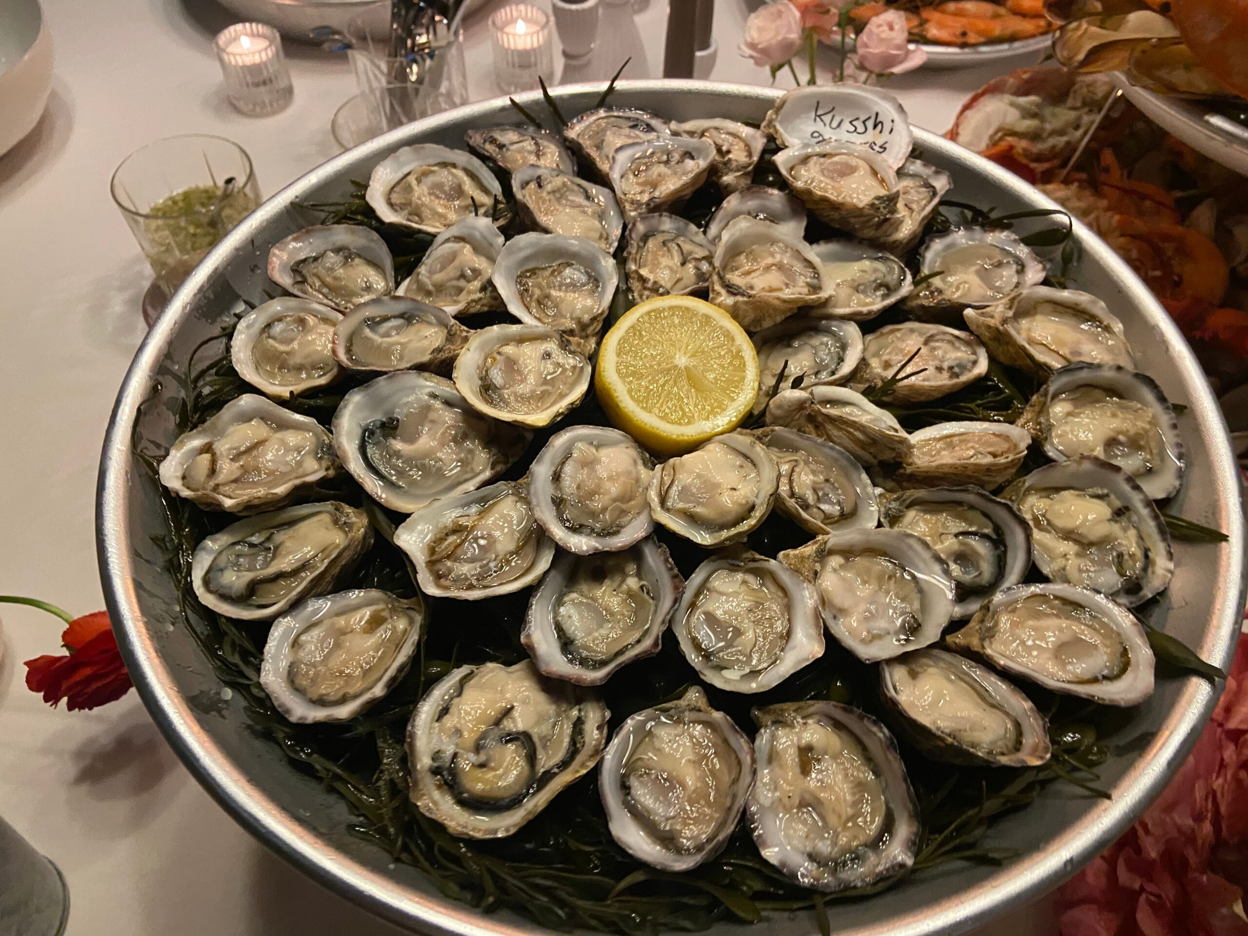 A plate full of oysters with lemon