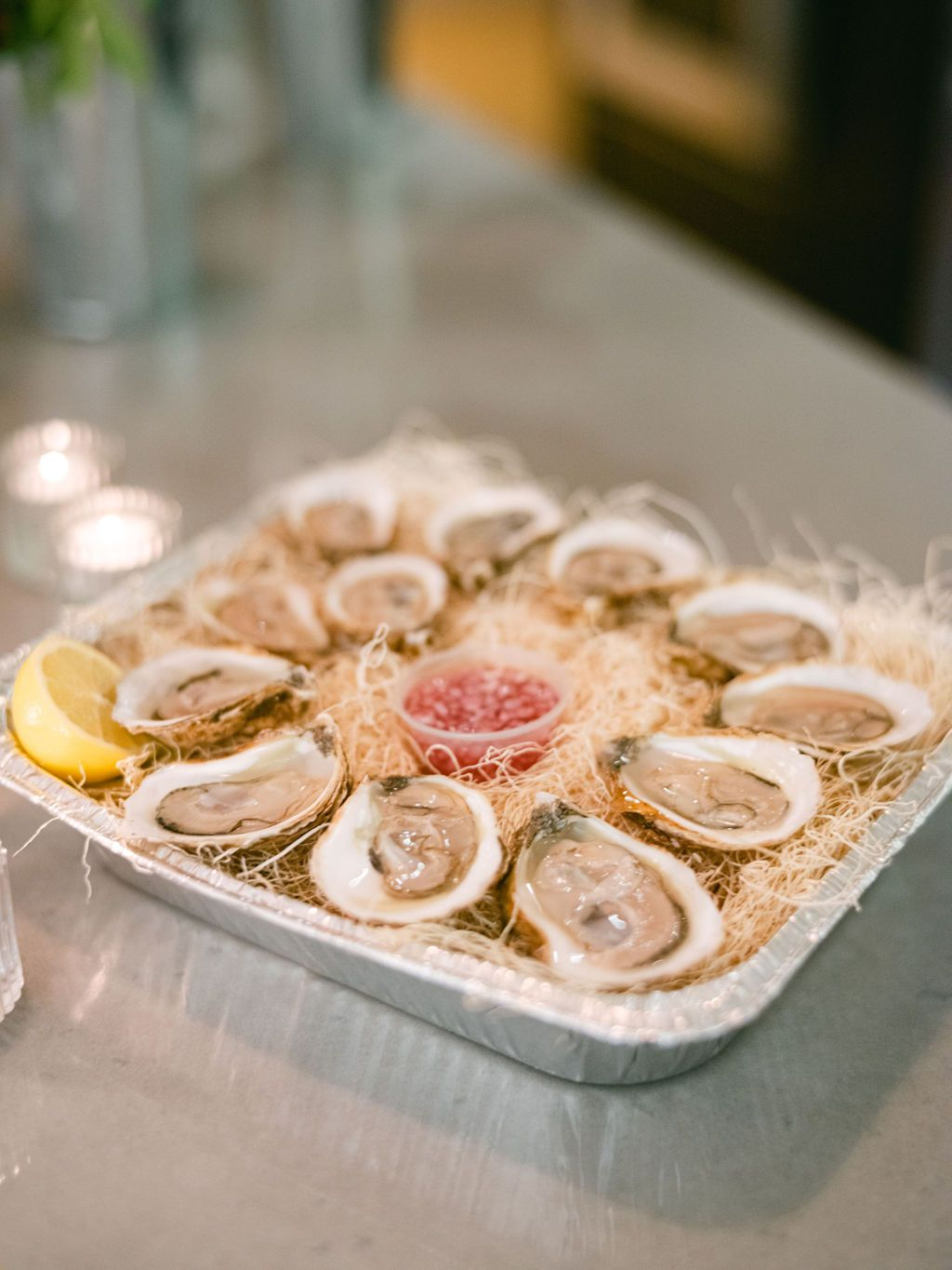 Shucked Oysters in a tray