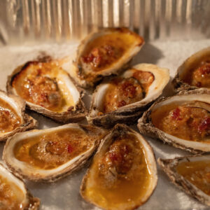 Chipotle bourbon oysters have the perfect combination of spice and sweet