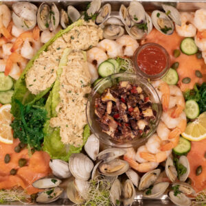 seacuterie board with fresh seafood