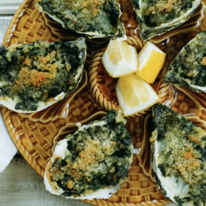 Rockefeller oysters made with fresh spinach and Parmesan cheese